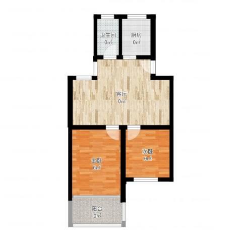 景芳三区2室1厅1卫1厨64.00㎡户型图