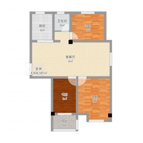 美麟海韵天城3室2厅1卫1厨96.00㎡户型图
