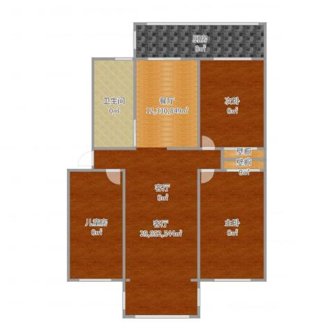 凤凰园3室1厅1卫1厨128.00㎡户型图