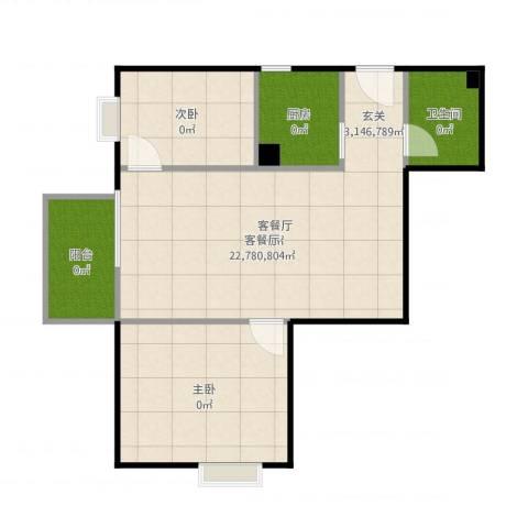 岭南花园2室2厅1卫1厨74.00㎡户型图