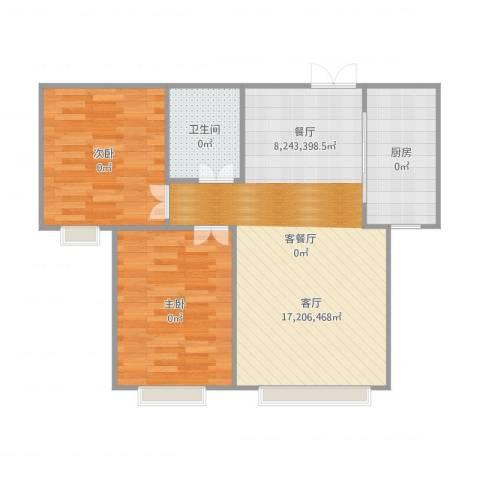 香缇苑2室2厅1卫1厨85.00㎡户型图