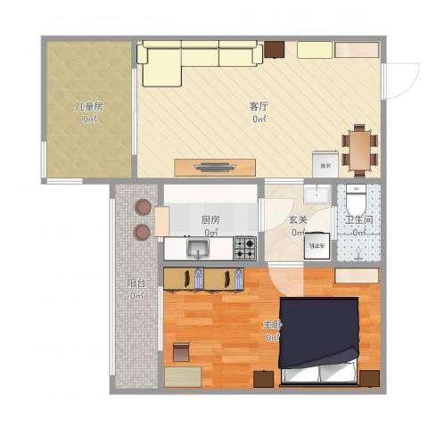 南三环中路71号院2室1厅1卫1厨58.00㎡户型图