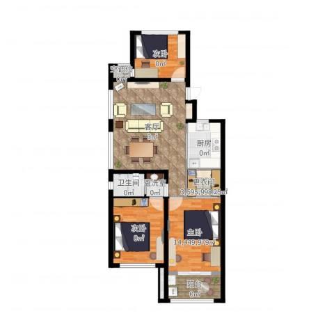 新城悠活城2室3厅1卫1厨101.00㎡户型图