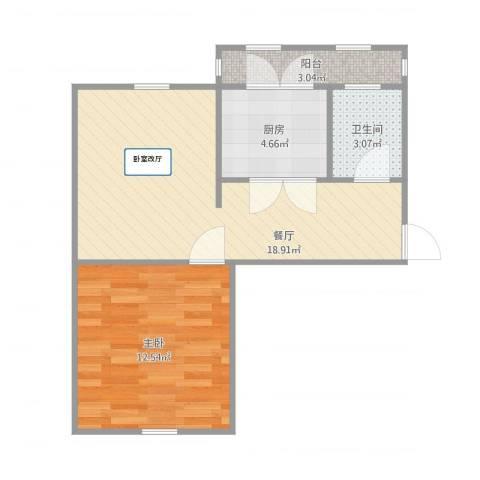 卧龙北里1室1厅1卫1厨58.00㎡户型图
