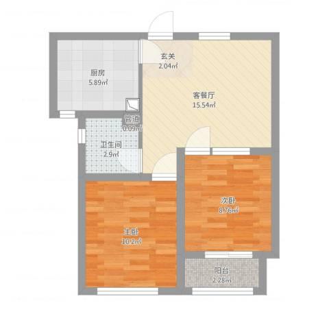金马怡园2室2厅1卫1厨67.00㎡户型图