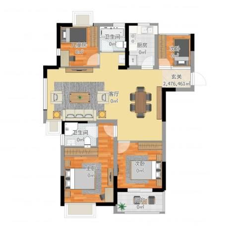 苹果园・幸福城4室1厅2卫1厨109.00㎡户型图