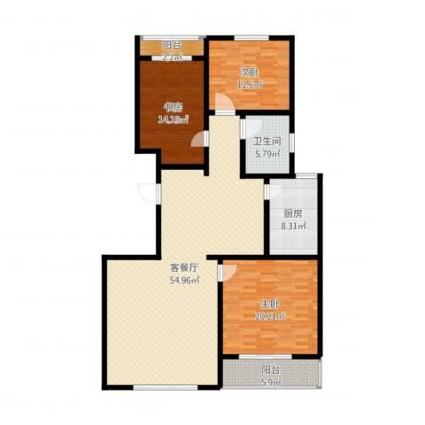 鑫和花园3室2厅1卫1厨175.00㎡户型图