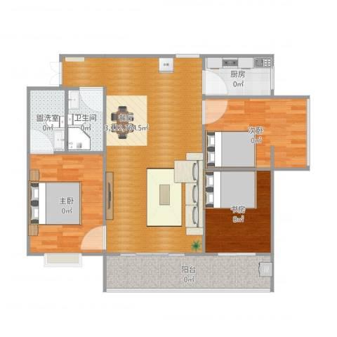 汉都故里3室3厅1卫1厨99.00㎡户型图