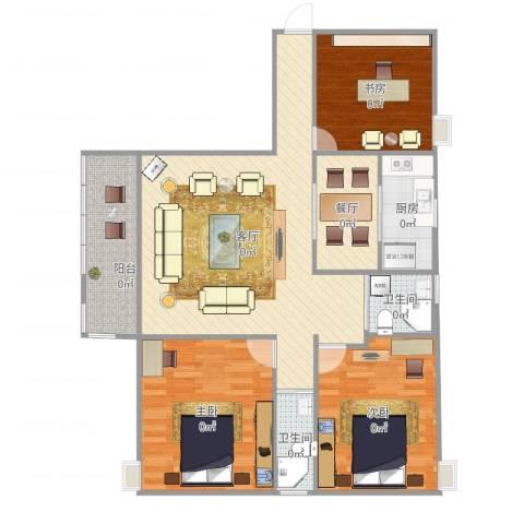 玉成家园3室2厅2卫1厨115.00㎡户型图