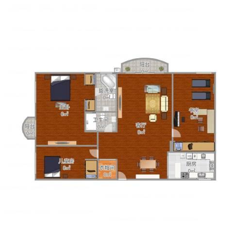 中山南苑3室3厅1卫1厨202.00㎡户型图