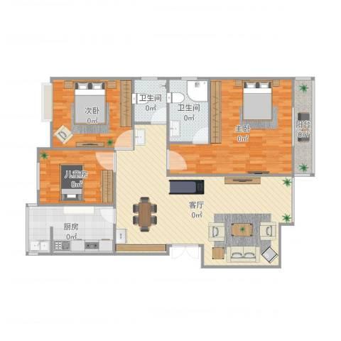 东城国际3室1厅2卫1厨125.00㎡户型图