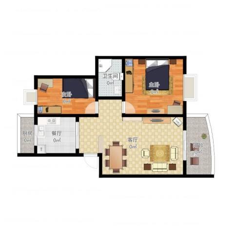 东华花园2室2厅1卫1厨85.00㎡户型图