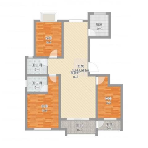 晨阳庄园3室2厅2卫1厨115.00㎡户型图
