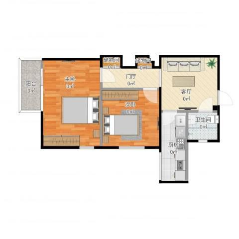西坝河北里2室1厅1卫1厨59.00㎡户型图