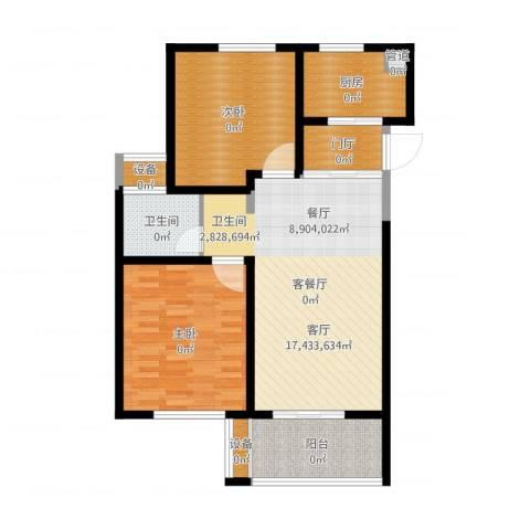 长江国际・朗庭2室2厅1卫1厨101.00㎡户型图