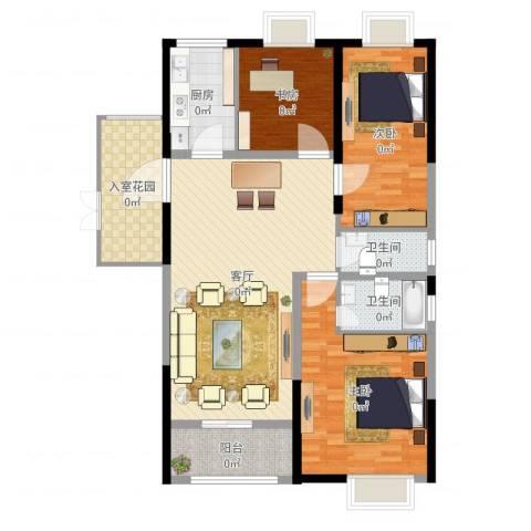 曲江城市花园3室1厅2卫1厨126.00㎡户型图