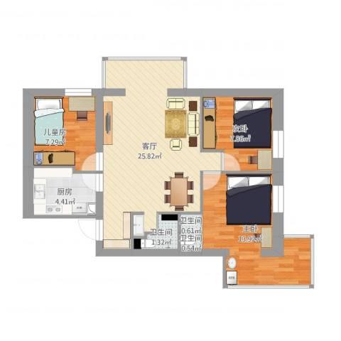 安苑北里3室1厅3卫1厨90.00㎡户型图