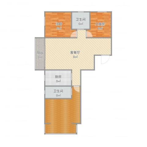 航天城小区2室2厅3卫1厨114.00㎡户型图