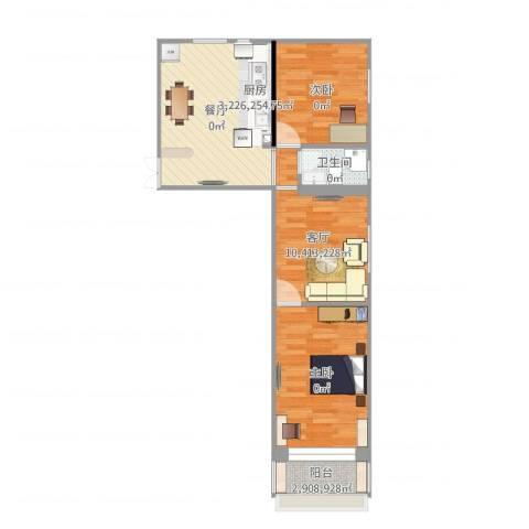 车站西街23号楼2室1厅1卫1厨65.00㎡户型图