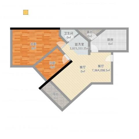东浚荔景苑2室1厅1卫1厨86.00㎡户型图