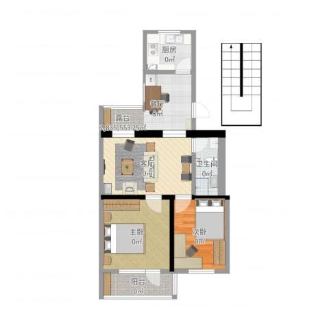 郁花园一里2室2厅1卫1厨66.00㎡户型图