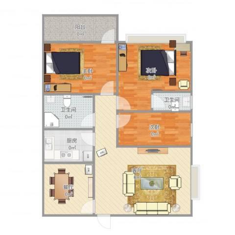 华师高校教师村3室2厅2卫1厨88.33㎡户型图