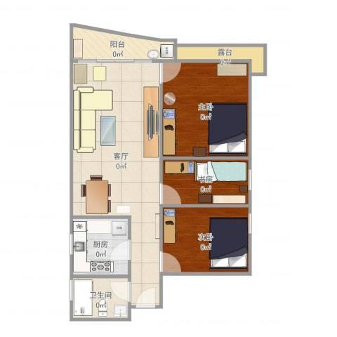 华景新城陶然庭苑3室1厅1卫1厨80.00㎡户型图