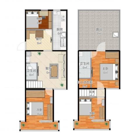 太平里小区4室2厅2卫1厨124.00㎡户型图