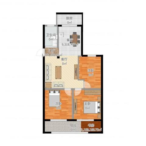 估衣廊3室1厅1卫1厨97.00㎡户型图