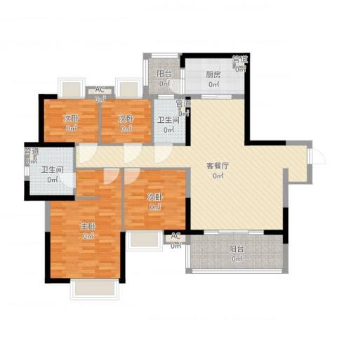 如英居4室2厅2卫1厨122.00㎡户型图