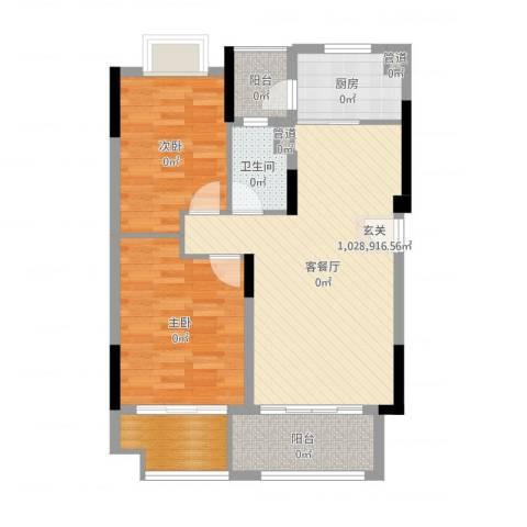 保利生态城2室2厅1卫1厨85.00㎡户型图