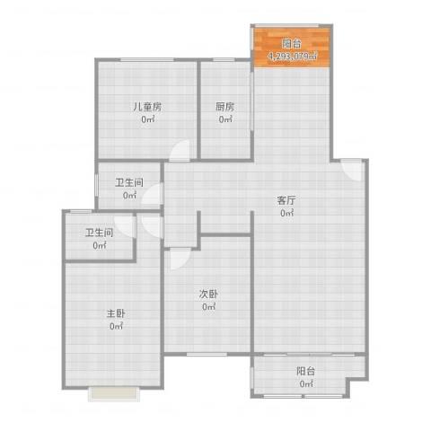 安粮中央花园3室1厅2卫1厨139.00㎡户型图