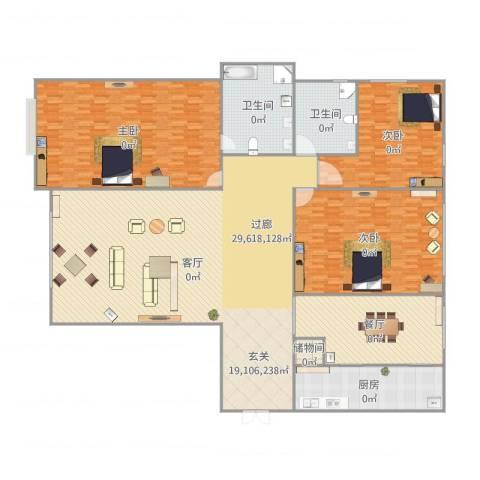 瓯北国际华城3室2厅2卫1厨364.00㎡户型图