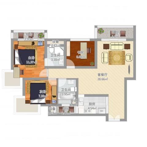 正康花园3室2厅2卫1厨110.00㎡户型图