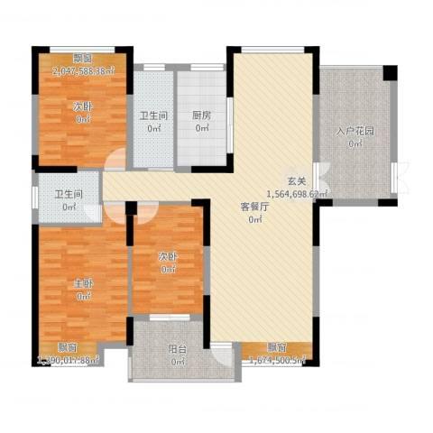 暨阳上河园二期3室2厅2卫1厨144.00㎡户型图