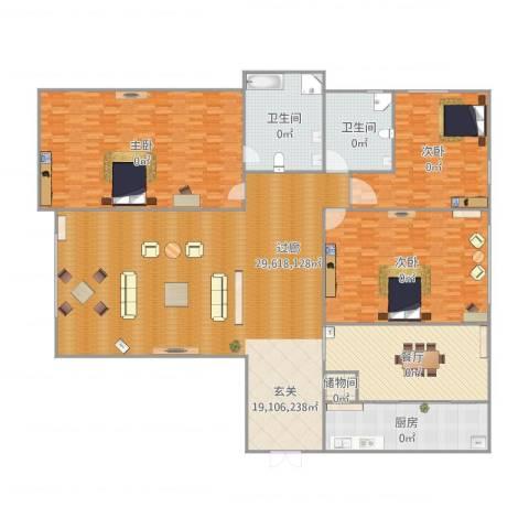 瓯北国际华城3室1厅2卫1厨363.00㎡户型图