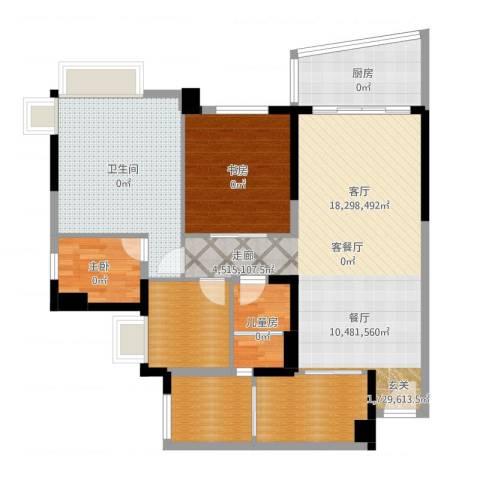 广州碧桂园城市花园3室2厅1卫1厨121.00㎡户型图