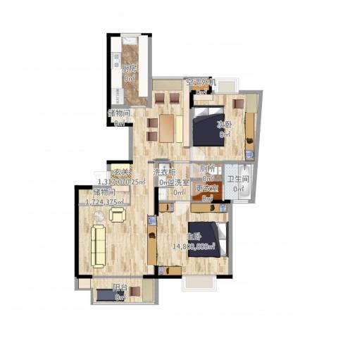 恒杰丁香花园1室2厅1卫1厨107.00㎡户型图