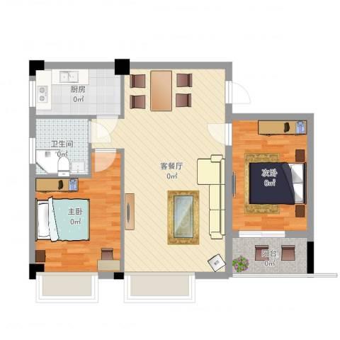 东方华庭2室2厅1卫1厨78.00㎡户型图