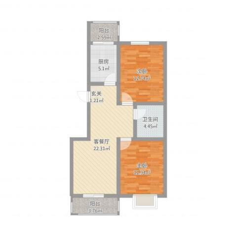 锦绣西双2室2厅1卫1厨91.00㎡户型图