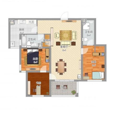 雅戈尔东湖花园3室2厅2卫1厨116.00㎡户型图