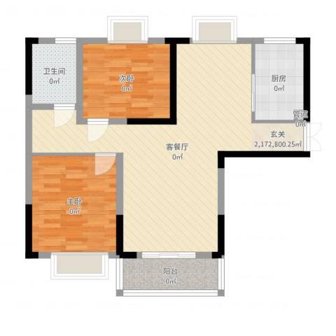 上海城黄浦花苑二期2室2厅1卫1厨89.00㎡户型图