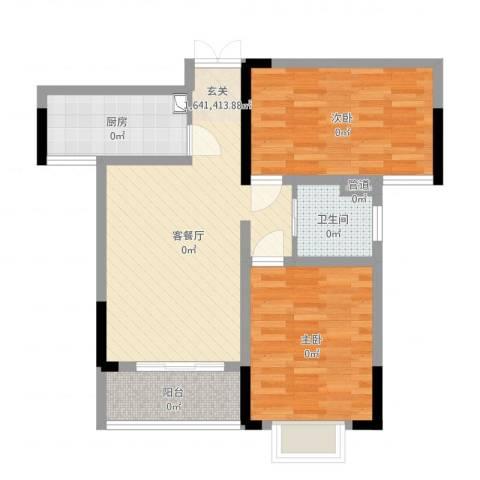 上海城黄浦花苑二期2室2厅1卫1厨75.00㎡户型图