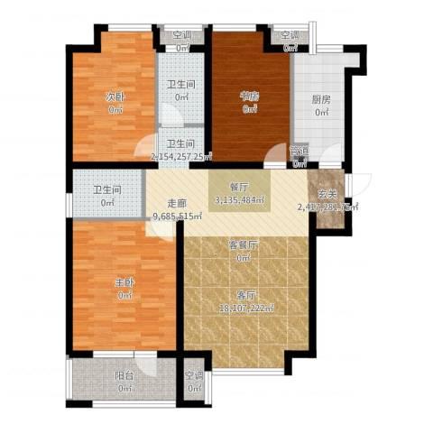 荣盛・白鹭岛3室2厅2卫1厨119.00㎡户型图