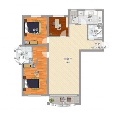 昌宇星河湾3室2厅2卫1厨115.00㎡户型图