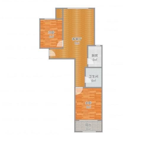 中央峰景B区2室2厅1卫1厨82.00㎡户型图