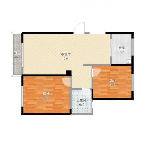 圣联梦溪小镇2室2厅1卫1厨76.00㎡户型图