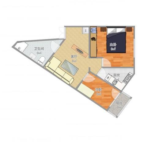卢沟桥北里2室1厅1卫1厨56.00㎡户型图