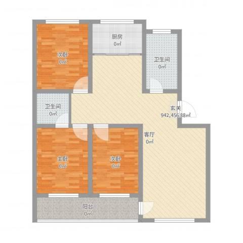 盛世家园3室1厅2卫1厨122.00㎡户型图