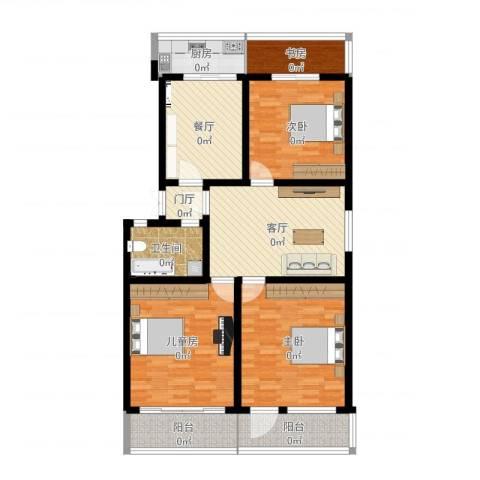 杆南小区4室2厅1卫1厨128.00㎡户型图
